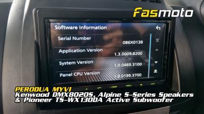 Perodua Myvi 1st Gen Kenwood DMX8020S, Alpine S-Series Speakers, Pioneer TS-WX130DA Active Subwoofer
