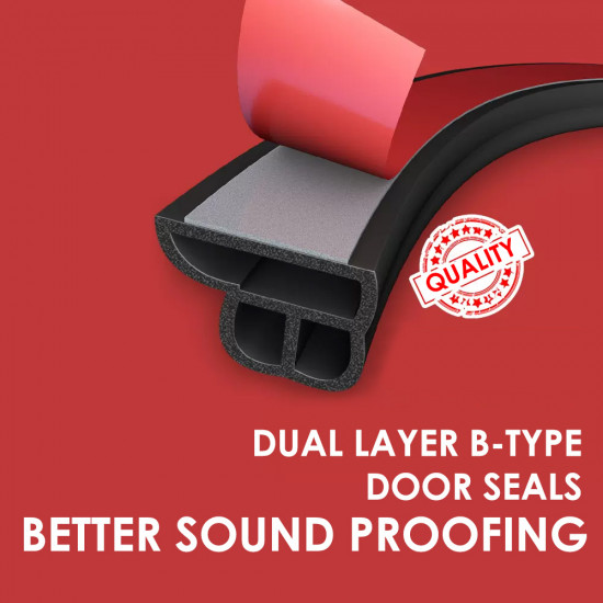 Dual Layer B-Type Door Seals Sound Proofing for 4 Doors with OPTIONAL Add-Ons for Car Boot, Engine, A/B/C Pillars and Windscreen