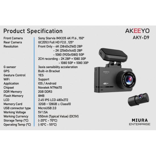 AKEEYO AKY-D9 4K/2K 2 Channel Dash Cam Sony IMX335 sensor Built-in GPS 32GB Memory
