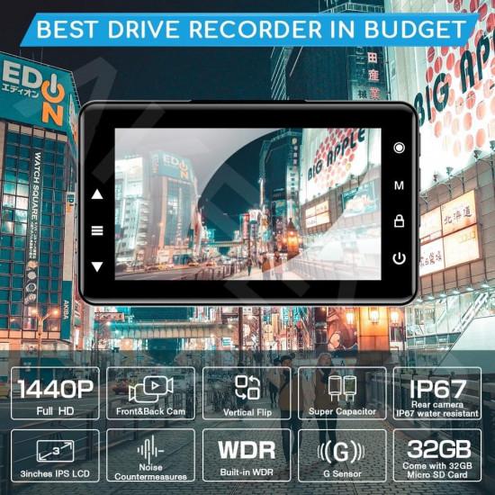 AKEEYO AKY-E1 2K/FHD 2 Channel Dash Cam Super Capacitor Vertical Flip 32GB Memory