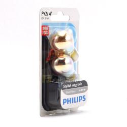PHILIPS 12496SVB2 PY21W Silver Vision 12V 21W BAU15s Single Filament Bulb Twin Pack