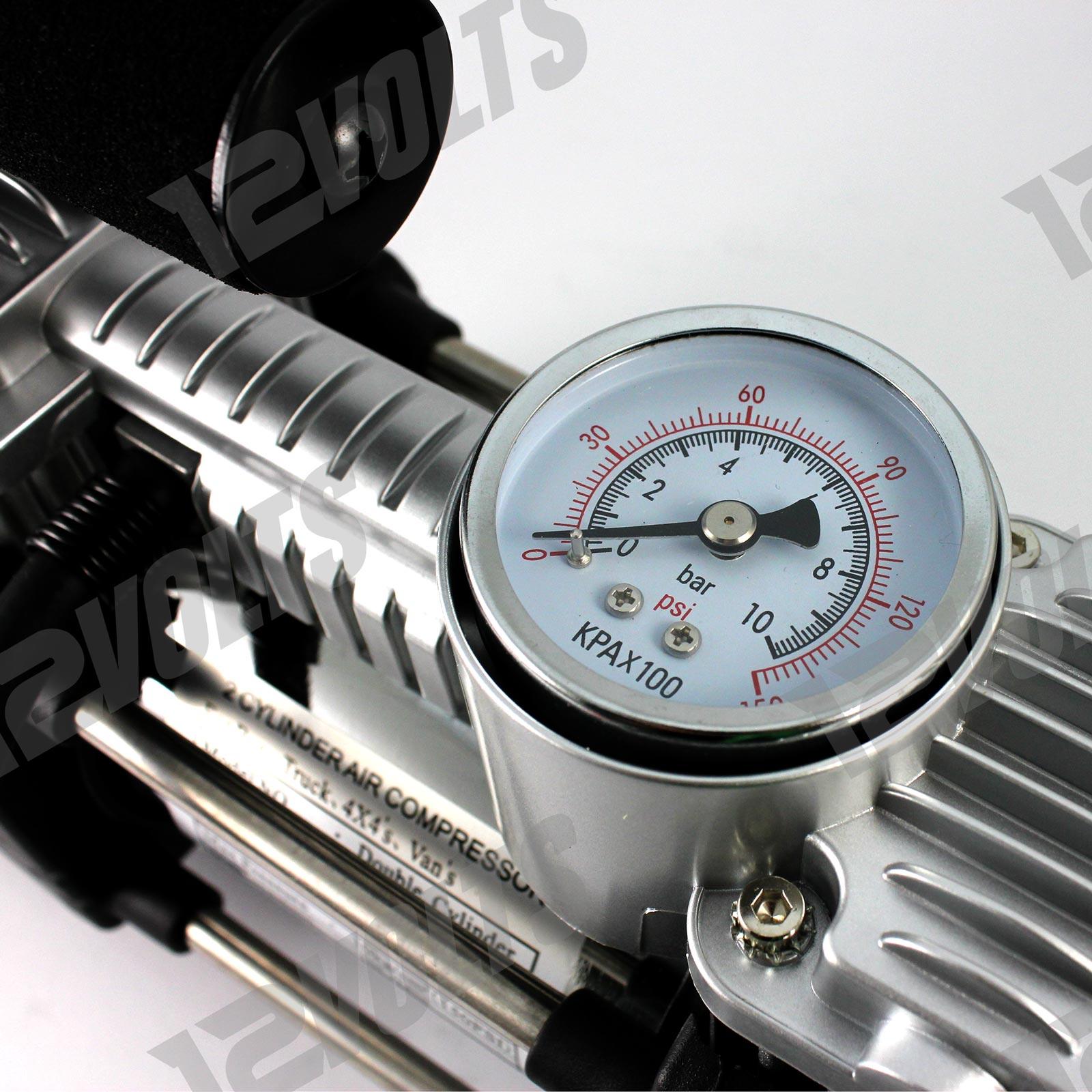 12V 150 PSI Portable 2 Cylinder Car Tire Inflator Compressor Air Pump